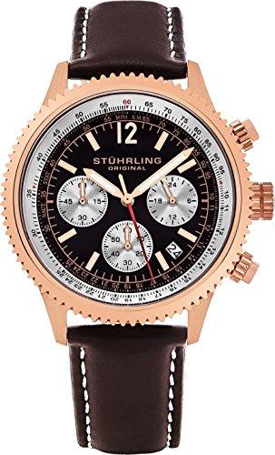 Stührling Original 669.04 - Reloj analógico para Hombre, Correa de Cuero, Color marrón