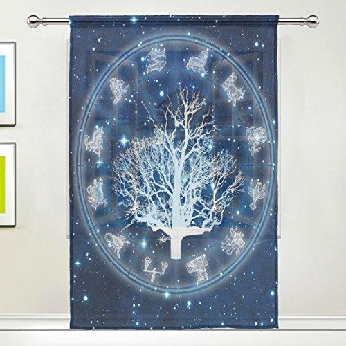 Use7 Individuelle Sternzeichen-Vorhang, durchsichtig, Astrologie-Diagramm, Baum des Lebens, Moderne Fensterbehandlung, für Wohnzimmer, Schlafzimmer, Heimdekoration, Plastik, Mehrfarbig, 55