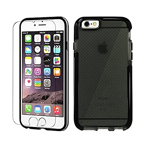 iPhone 6/6s Coque, Fodoonos Coque Souple et Doux TPU / Extra Serrement Coque avec Gratuit Verre Trempé écran Protecteur pour iPhone 6 (2014) / iPhone 6s (2015) -- Pare - Chocs Noir