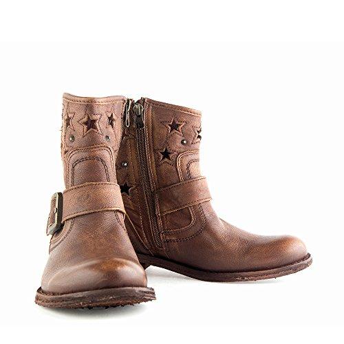 Felmini - Chaussures Femme - Tomber en amour avec Gredo 8347 - Bottes Cowboy & Biker - Cuir Véritable - Marron Marron