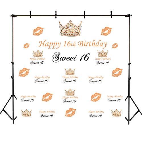 (Mehofoto Happy 16. Geburtstag Kulisse 8x8ft Sweet 16 Krone und Lip Print Dekoration Foto Hintergrund Nahtlose Schritt und wiederholen Banner Fotografie Hintergrund)