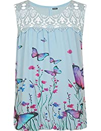 WearAll Plus Womens Crochet Butterfly Print Lined Sleeveless Ladies Lace Vest Top 16-26
