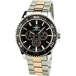 MICHAEL JOHN -Men's Watch Silver Quartz Black Pinkcase Steel Analogue Display Band Steel