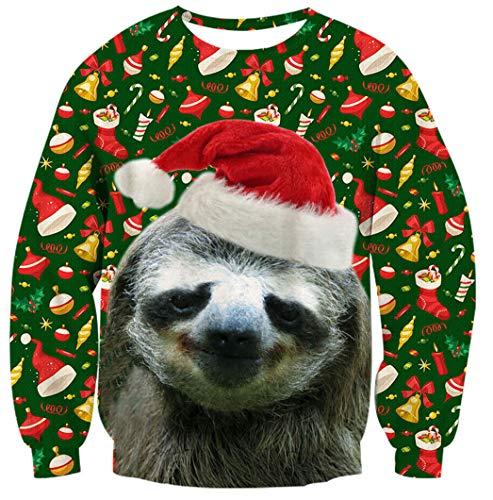 TUONROAD Faultier Weihnachten Hässlich Pullover Xmas 3D Weihnachten Hässlich Pullover Langarmshirt Xmas Pullover (Pullover Für Weihnachten Hässliche)