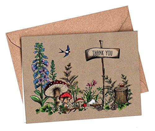 woodland-toadstool-rustic-thank-you-cards-and-envelopes-vintage-brown-recycled-10-5-or-1-x-a6-blank-