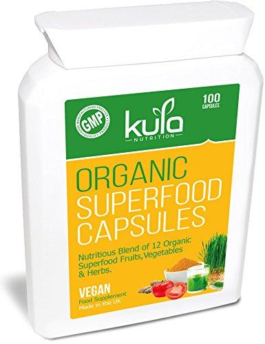 d Komplex - 100 Kapseln - Veganisches Nahrungsergänzungsmittel mit 12 organischen Früchten,Gemüsen und Kräutern inklusive vorgekeimter aktivierter Gerste,Spirulina, und Weizengras. ()
