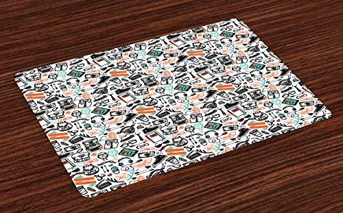ABAKUHAUS Indie Platzmatten, Hipster-Mode-themenorientierte Muster-Kleidungs-Zusätze und Symbole flüchtige Kunst, Tiscjdeco aus Farbfesten Stoff für das Esszimmer und Küch, Seafoam Orange Schwarz