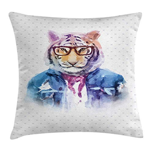 VTXWL Quirky Decor Throw Pillow Cushion Cover by, Intellectual Tiger with Scarf Torn Denim Jacket and Glasses Watercolor Artwork, Decorative Square Accent Pillow Case, 18 X 18 Inches, Multicolor Neon Denim Jacket
