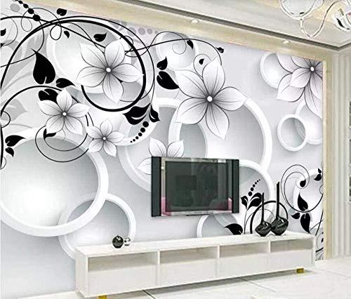 Tapete 3D Kreis Fünf Blütenblatt Blume Weiß Modern Wohnzimmer Schlafzimmer Großes Wandbild Wanddekoration-200cmx140cm