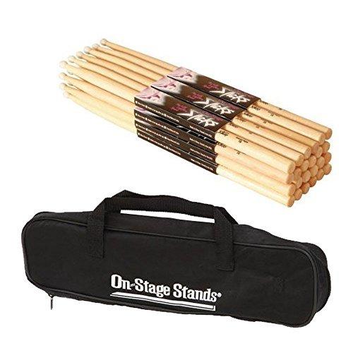B (12Paar) + OnStage dsb6500klein Drum Stick Tasche-Deluxe Drum Zubehör Bundle ()