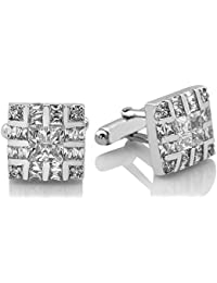 Mens Sterling Silver .925 Original Design Cufflinks, Fancy Sqaure Design, With Channel Set Elegant Princess Cut...