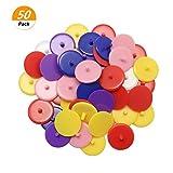 SelfTek 50 pièces Marqueurs de balle de golf ronde marqueurs en plastique couleur aléatoire