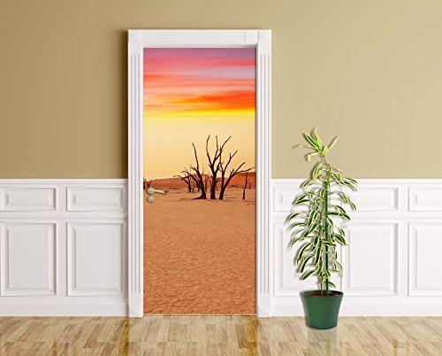 Türaufkleber - Dead Valley - Namibia - 90 x 200 cm - selbstklebend - Türpanel - Aufkleber - Türbild - Tür - Bild - Foto - Tapete - Türtapete - Türposter - Türfolie - Türklebefolie - Bild für Tür - Dünen - Sanddünen - Sand - Wüste - Sonne - Akazienbäume - toter Baum - Namib - Deadvlei - Nationalpark - Natur - Landschaft - Afrika - (Globale Ansichten Home Decor)