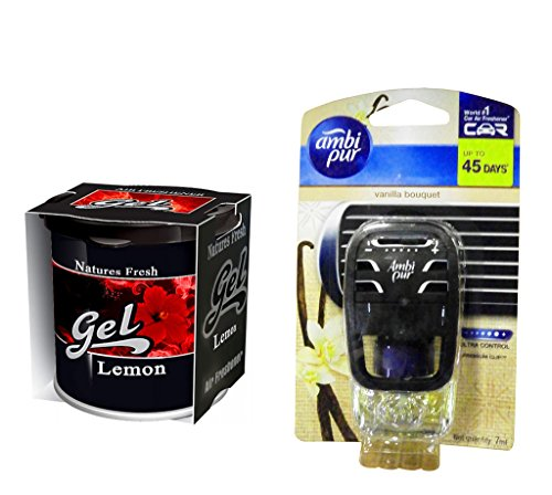 Combo - Auto Pearl - Natures Fresh 100gm Premium Car/Home/Office Air Freshener Gel - Lemon & Ambi Pur Starter Kit 7. 5 ml - Vanilla Bouquet  available at amazon for Rs.444
