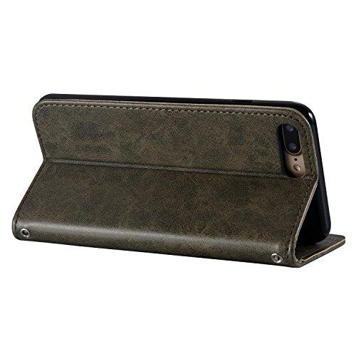 Custodia iPhone 7 Plus, ISAKEN Custodia iPhone 7 Plus, iPhone 7 Plus Flip Cover con Strap, Elegante borsa Cranio Design in Sintetica Ecopelle Sbalzato PU Pelle Protettiva Portafoglio Case Cover per Ap Cranio: grigio