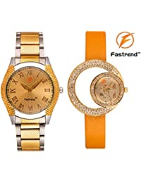 Fastrend Quartz Watch Combo For Men And Women - Durable Analog Watches - Couple Watches - 1 Golden-Silver And...