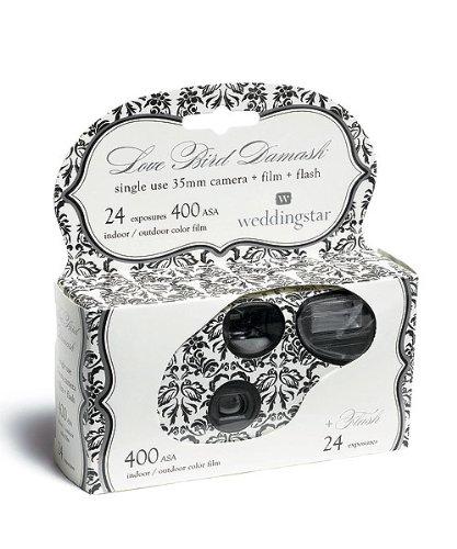 """Einwegkamera \""""Love Bird Damask\"""" schwarz weiß 24 Bilder Hochzeit Einwegkameras Hochzeitskameras"""