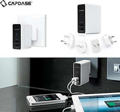 Capdase Travel Worldwide All in One Universal AC Plug Adapter Power Converter Wall Charger with Dual USB Charging Ports for US EU UK AUS Europe Mobile