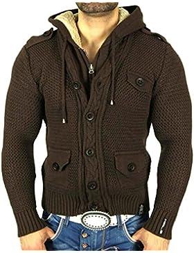 Rusty Neal Cardigan punto grueso cremallera sudadera con capucha chaqueta Marrón RN de 6819