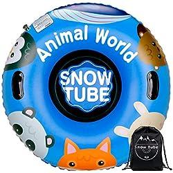 Leader Accessories 47 inch Luge Bouée Gonflable,Heavy Duty Gonflable Toboggan avec Poignées, Matériau d'épaississement de 0.6mm,Tube à Neige Gonflable pour Les Enfants et Les Adultes,Animal