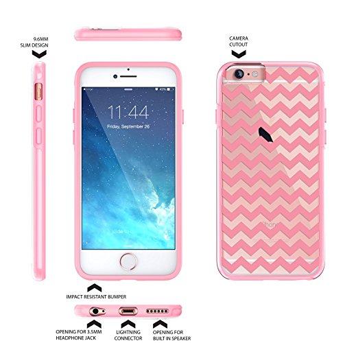 """iPhone 6 6s Case 4.7"""", Hülle True Color® Breite Chevron Waves Gedruckt auf freier transparenter Hybrid -Abdeckung Hard + Soft Slim dünnen haltbaren Schutzschutz aus Gummi TPU Stoßabdeckung - Teal Pink"""