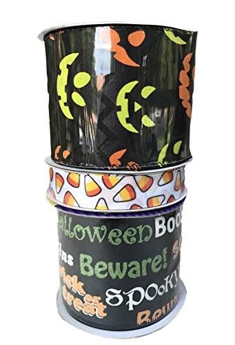 Candy Corn Kürbis Gesichter und schwarz Happy Halloween Bundle Of Drei Halloween themed Bänder (Unheimlich Halloween Happy)