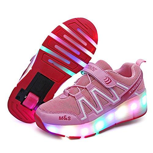Mädchen Junge Mode LED Rollenschuhe mit Automatisch Verstellbares Räder Skateboardschuhe Outdoor-Sportarten Gymnastik Blinken Turnschuhe mit USB Aufladbare (28 EU, Rosa 03)