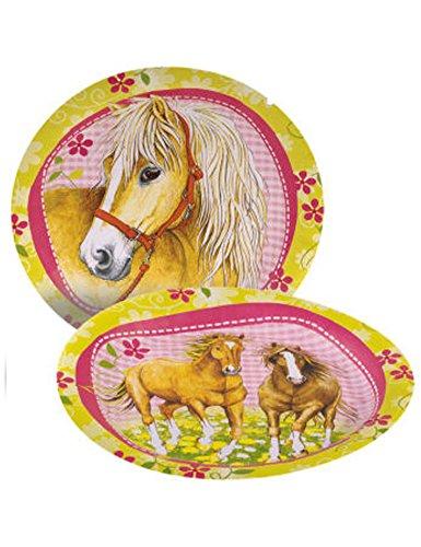 KULTFAKTOR GmbH Pappteller Pferde Kindergeburtstag 8 Stück hellgrün-rosa 23cm Einheitsgröße (Pappteller Hellgrün)