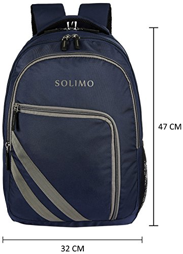 Amazon Brand - Solimo Travel Backpack (29 litres, Midnight Blue & Steel Gray) Image 5