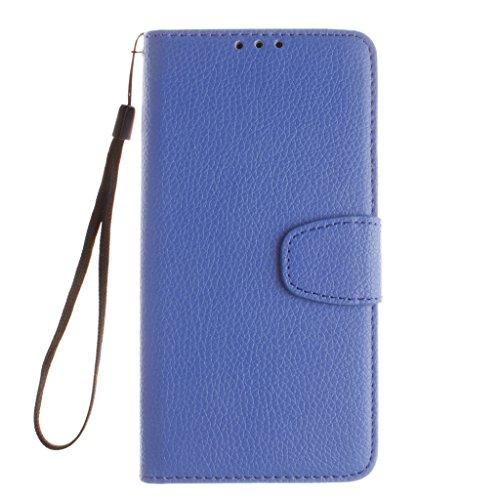 W-Pigcase Étui portefeuille en similicuir avec fermeture magnétique, porte-cartes de crédit/d'identité, support - Protection plate et résistante pour iPhone 7, PU, violet, HTC One M8 bleu