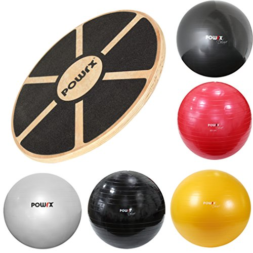 POWRX Balance Set I Balance Board Holz + Gymnastikball Sitzball versch. Farben I Gleichgewicht Stabilität Koordination (Silber)
