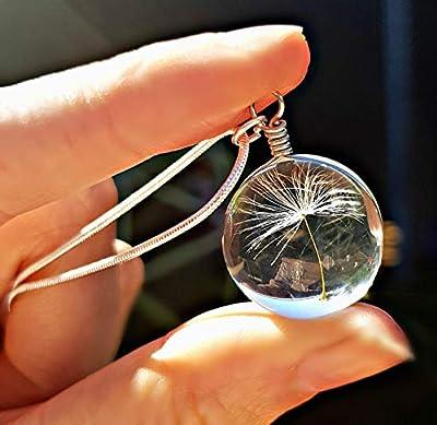 Cadeau Saint Valentin Chaîne en argent sterling collar de Pissenlit Pendentif Chaîne avec BOITE CADEAU Collier en verre collier de mariée bijoux de demoiselle d'honneur bijoux d'anniversaire