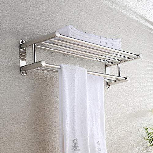 Pha-macy Edelstahl Badregal Handtuchhalter mit Lagerung verdeckte Befestigung Doppel-Handtuchhalter Badregal Leiste an der Wand montiert
