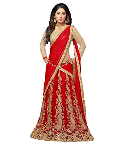 vaankosh fashion women red net designer embroidered lehenga / bollywood lehenga/partywear lehenga/lehenga
