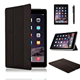 SAMAR® - Supreme Quality New Apple iPad Air 2 Tablet (Released Oct 2014) Ultra Slim Black Case Cover Stand + [FREE HD Screen-Protector with cleaning cloth] [FREE Stylus] for Apple iPad Air 2