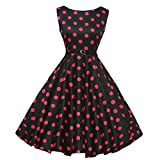 Neun Vintage Kleid,Yesmile Jahre Kleider Damen Polka Dots Solide Kappen Hülse Retro Vintage Sommerkleid Rot Sexy Party Picknick KleidRundhals Abendkleid Prom Swing Kleid (XL, Schwarz)
