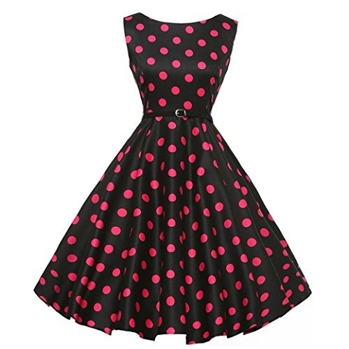 Neun Vintage Kleid,Yesmile Jahre Kleider Damen Polka Dots Solide Kappen Hülse Retro Vintage Sommerkleid Rot Sexy Party Picknick KleidRundhals Abendkleid Prom Swing Kleid (2XL, Schwarz)