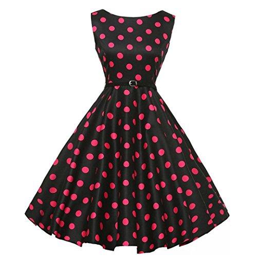 Neun Vintage Kleid,Yesmile Jahre Kleider Damen Polka Dots Solide Kappen Hülse Retro Vintage Sommerkleid Rot Sexy Party Picknick KleidRundhals Abendkleid Prom Swing Kleid (S, Schwarz)
