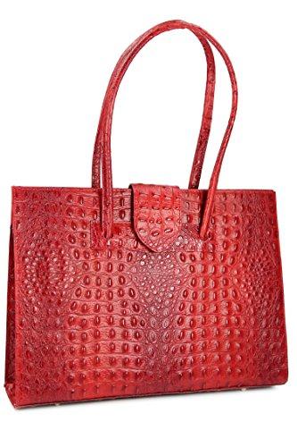 "BELLI ""Design Bag C"" ital. Ledertasche | Businesstasche | Jobbag - große Farbauswahl - 40x30x12 cm (B x H x T) Rot kroko"