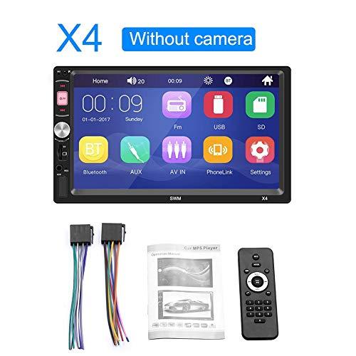 Adminitto88 Universal MP4 für Autoradio Android Mirrorlink Multimedia Player Universal Stereo mit Touchscreen Bluetooth Stereo Kamera Funk Sprachsteuerung Intelligente Sprachsteuerung, Schwarz Universal Bluetooth Stereo