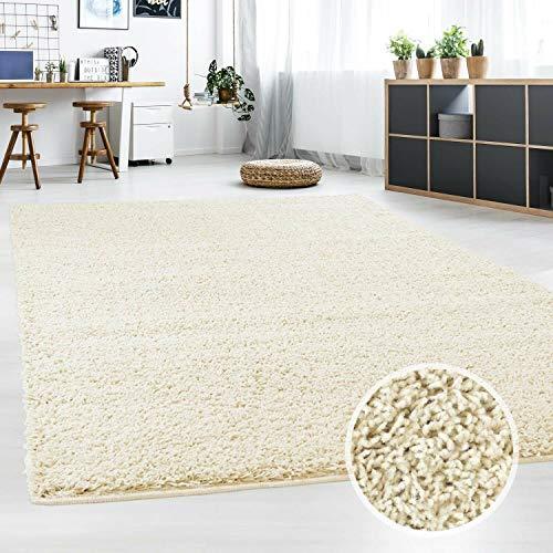 Hochflor Teppich | Shaggy Teppich fürs Wohnzimmer Modern & Flauschig | Läufer für Schlafzimmer, Esszimmer, Flur und Kinderzimmer | Langflor Carpet Creme 120x170 cm