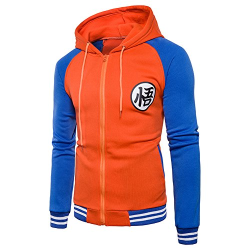 FULANDA Dragon Ball Goku Zip-Up Sudaderas Para Adultos(Naranja&Azul