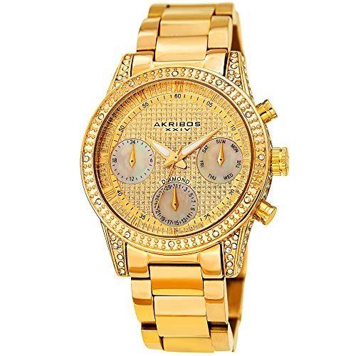 Akribos XXIV Diamond Studded Women's Watch – Mother of Pearl Chronograph, Day Date Subdials, Crystal Stone Case, Rose Gold Stainless Steel Bracelet - AK1038SS (Pearl Watch Mother Of)