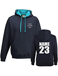 CUSTOM TEXT printed on personalised contrast varsity hoodie, make your own varsity hoodie Printed Contrast Hoodie Oxford Navy/Hawaiian Blue