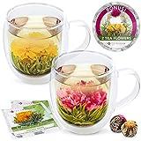 Teabloom Coffret Cadeau Twin Harmony Comprenant Un mug et des Fleurs de thé (2 Mugs + 2 Fleurs de thé sculpté) - Mugs de 550 ML Verre borosilicaté - 2 Fleurs de thé Vert sculpte pour Les gourmets