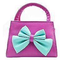 LA HAUTE Little Girls Fashion Tote Handbag Adorable Bowknot Purse Shoulder Bag Corssbody Bag (Rose Red)