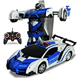 ETbotu One Key Deformation Roboter Spielzeug Transformation Elektroauto Modell mit Fernbedienung Police Car/Battery Version