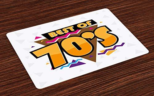 ABAKUHAUS 70er Party Platzmatten, Party Zeit 70er Jahre Musik Thema Retro Mode lebendige Joyful Dreiecke Artwork Print, Tiscjdeco aus Farbfesten Stoff für das Esszimmer und Küch, ()