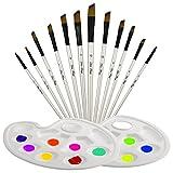 TedGem Set di 12 pennelli per pittura a olio con palette da 2 pezzi, pennello in nylon realizzato in legno per acquerello e disegno