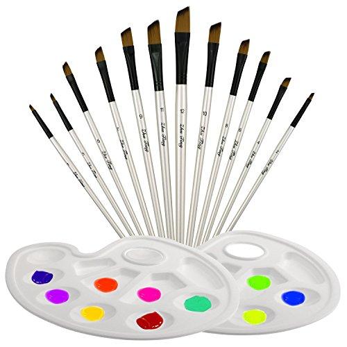 TedGem Pinceaux, Lot de 12 brosse de peinture à l'huile avec 2 Pcs Palettes, Pinceaux en nylon faite par bois für aquarelle et dessin